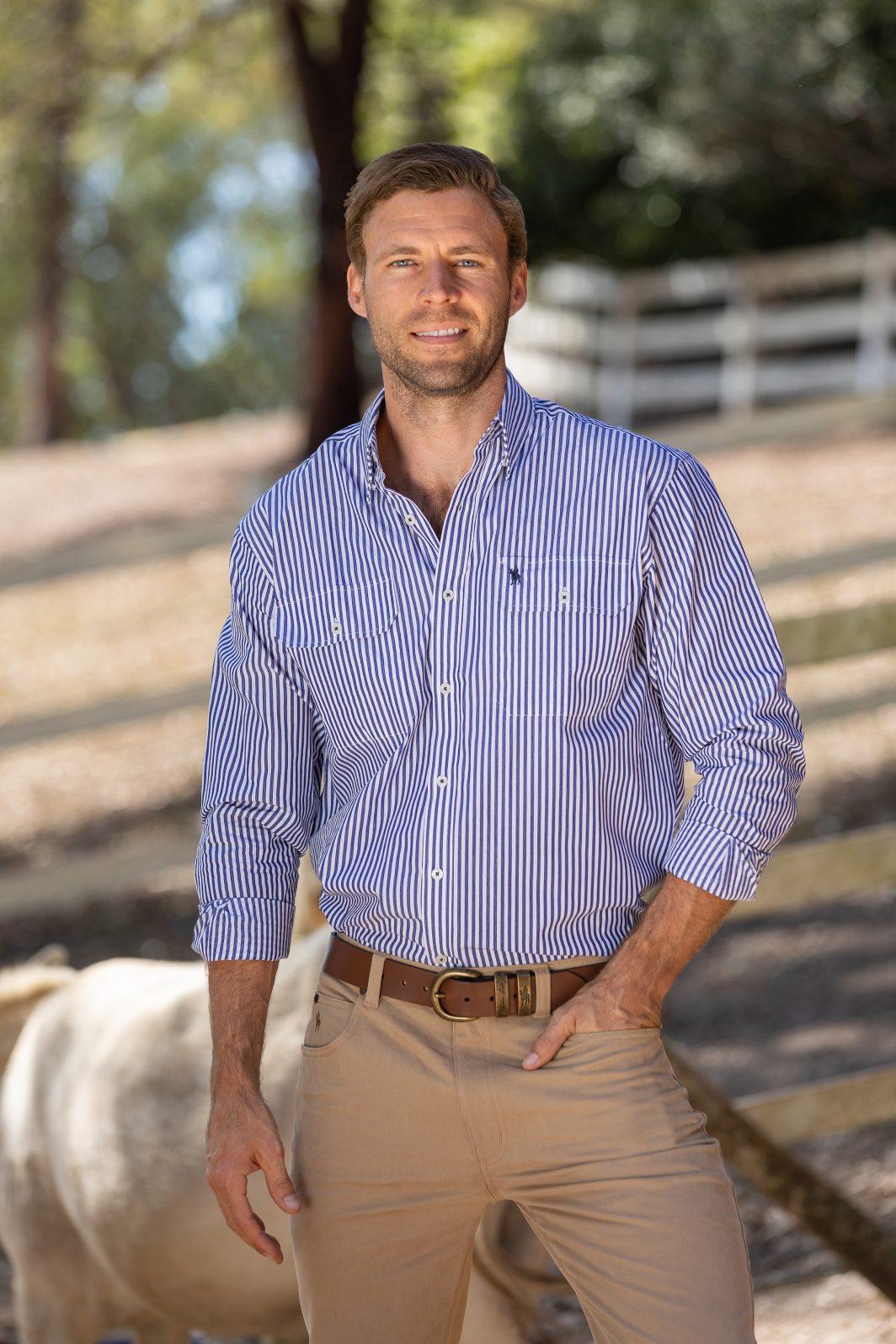 Thomas Cook Men's Dean Stripe Shirt White/Navy