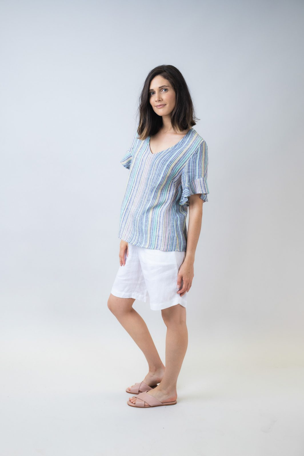 Fluted Sleeve V Neck Top Candy